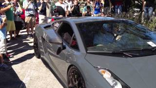 LOUD Lamborghini Gallardo Superleggera revving up. (Warning headphones users)