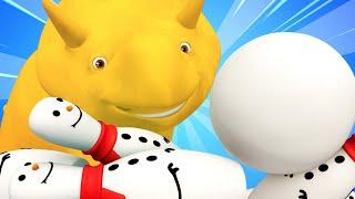 ЗИМА - Учим цифры и играем в боулинг снежками - Динозаврик Дино 👶 Обучающий мультфильм для детей