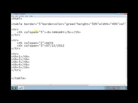 How To Create Calender Using Html Code Part-1 (calender)
