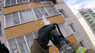 Пожар в квартире на 11 этаже. Работа с АЛ 30.