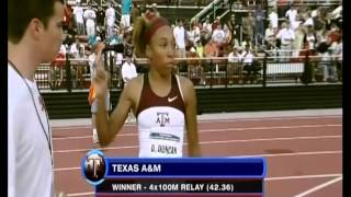 42.36 Collegiate Record, 4x100 Meter Relay. Texas A&M University 2009 NCAA Championship