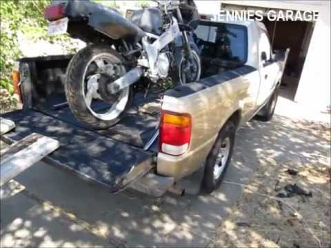 Loading A Fzr600 In A Ford Ranger With Wood Board Ramps