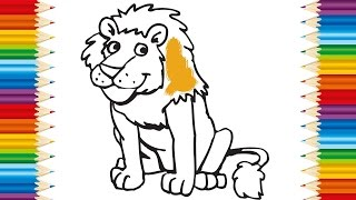 LION Coloring page for KIDS and Learning How to Draw Lions - Videos for children