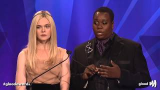 Elle Fanning, Alex Newell, and Jazz at the #glaadawards