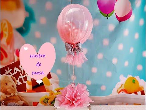 CENTRO DE MESA CON GLOBOS Y TUL/Centerpiece with balloons and tulle