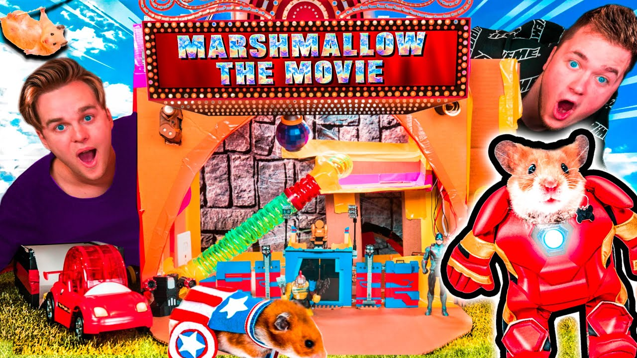 MARSHMALLOW'S BOX FORT THE MOVIE! PRISON ESCAPE, AVENGERS BASE AND MORE!