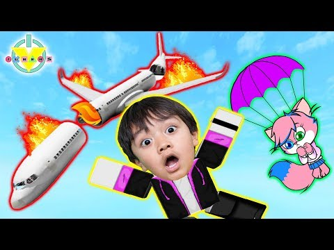 WE JUMPED FROM THE PLANE! Roblox Escape the Plane Crash Obby Lets Play with Ryan Vs Alpha Lexa