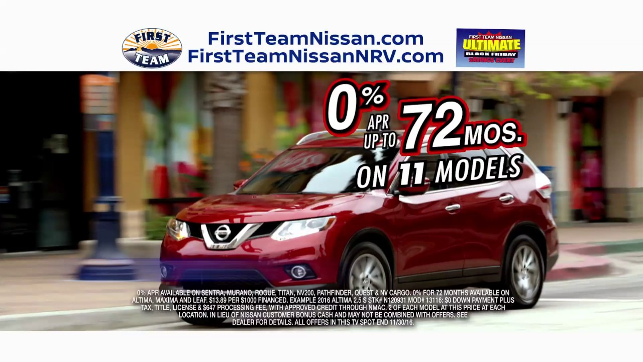 First Team Nissan >> First Team Nissan Ultimate Black Friday Sale This November 2016