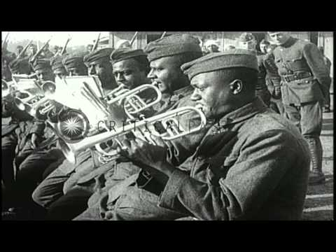 African American soldiers play various musical instruments HD Stock Footage