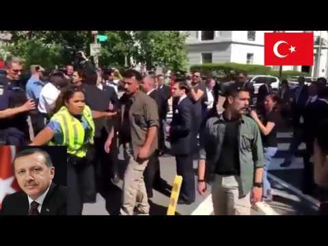 Erdoğanın korumaları ve Türkler Amerika'da PKK'ları dövdü