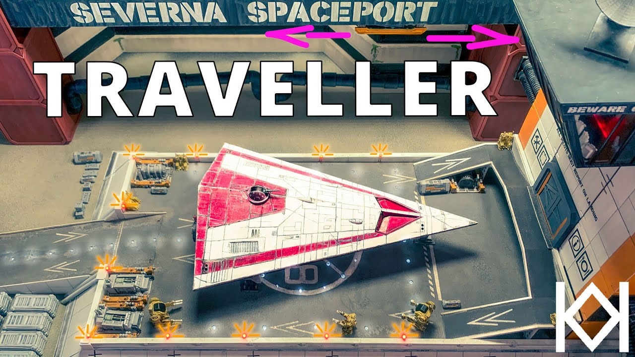 Animated Spaceport Diorama with Traveller RPG Spaceship