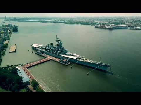 Camden NJ Waterfront and USS New Jersey