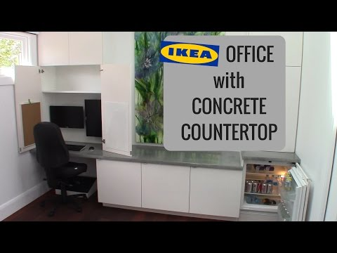 Office Workstation with IKEA Cabinets and GFRC Concrete Tops