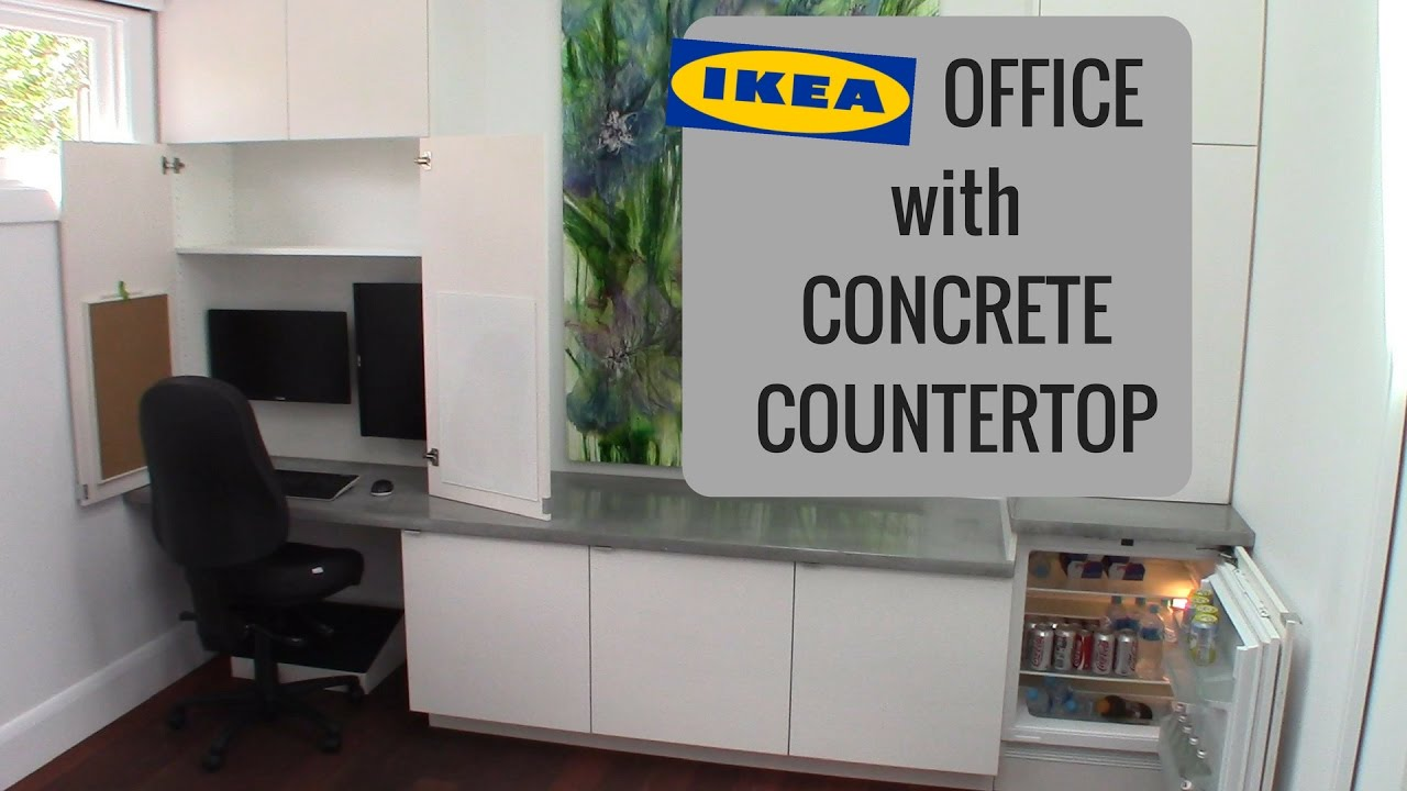 Ikea Kitchen Countertops >> Office Workstation with IKEA Cabinets and GFRC Concrete Tops - YouTube