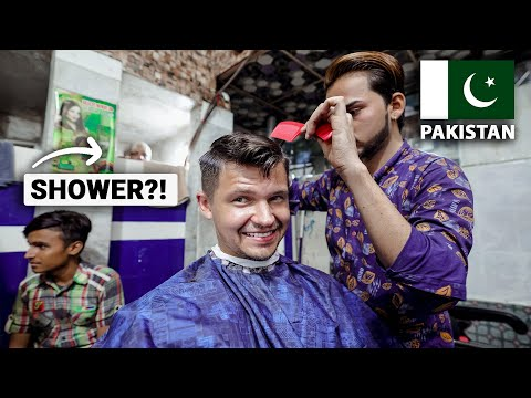 $3 Haircut and Shave in Lahore Pakistan (with a shower?!)