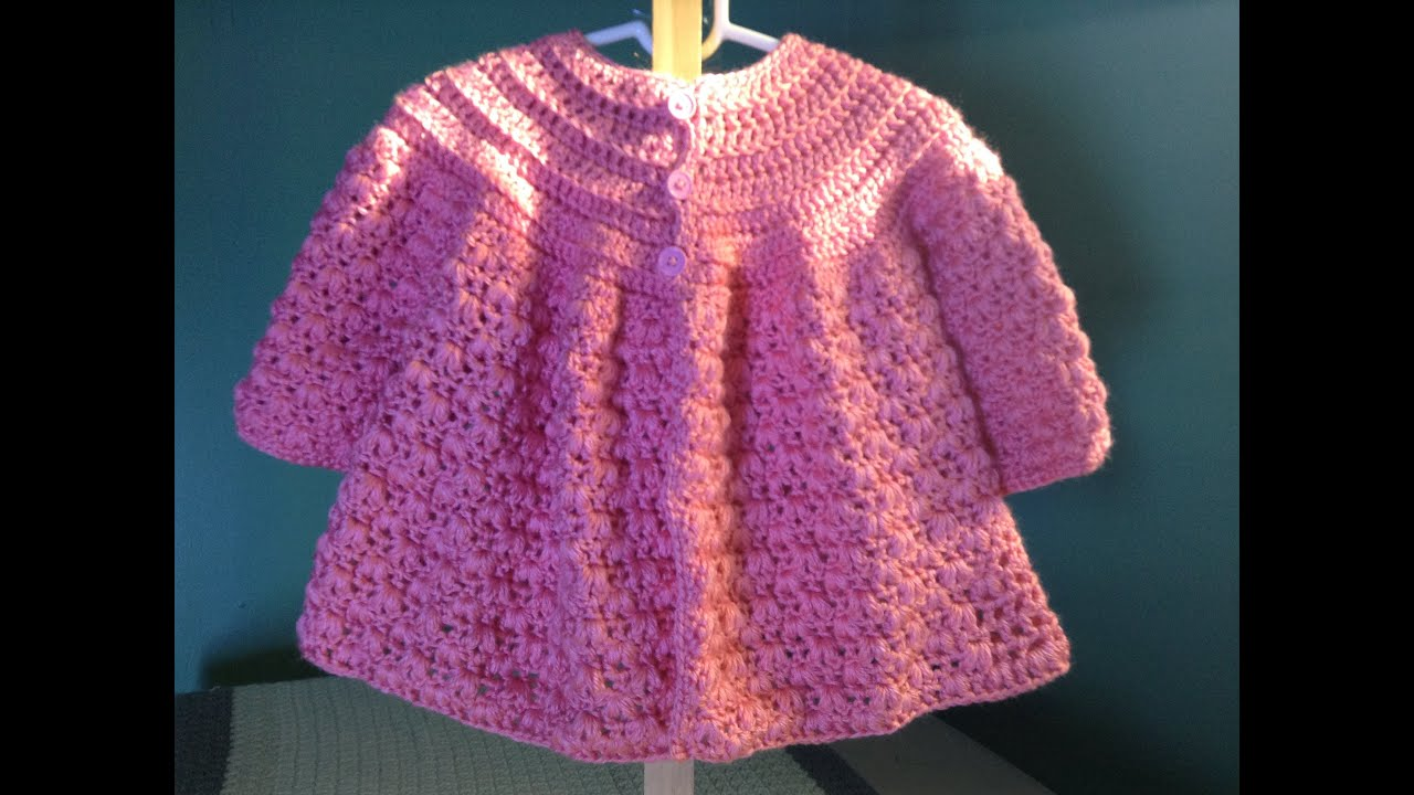 Crochet Baby Girl Cardigan Pattern Free : How to Crochet a Baby Sweater - YouTube