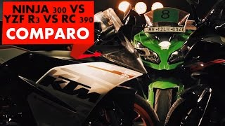 yamaha yzf r3 vs ktm rc390 vs kawasaki ninja 300 review powerdrift