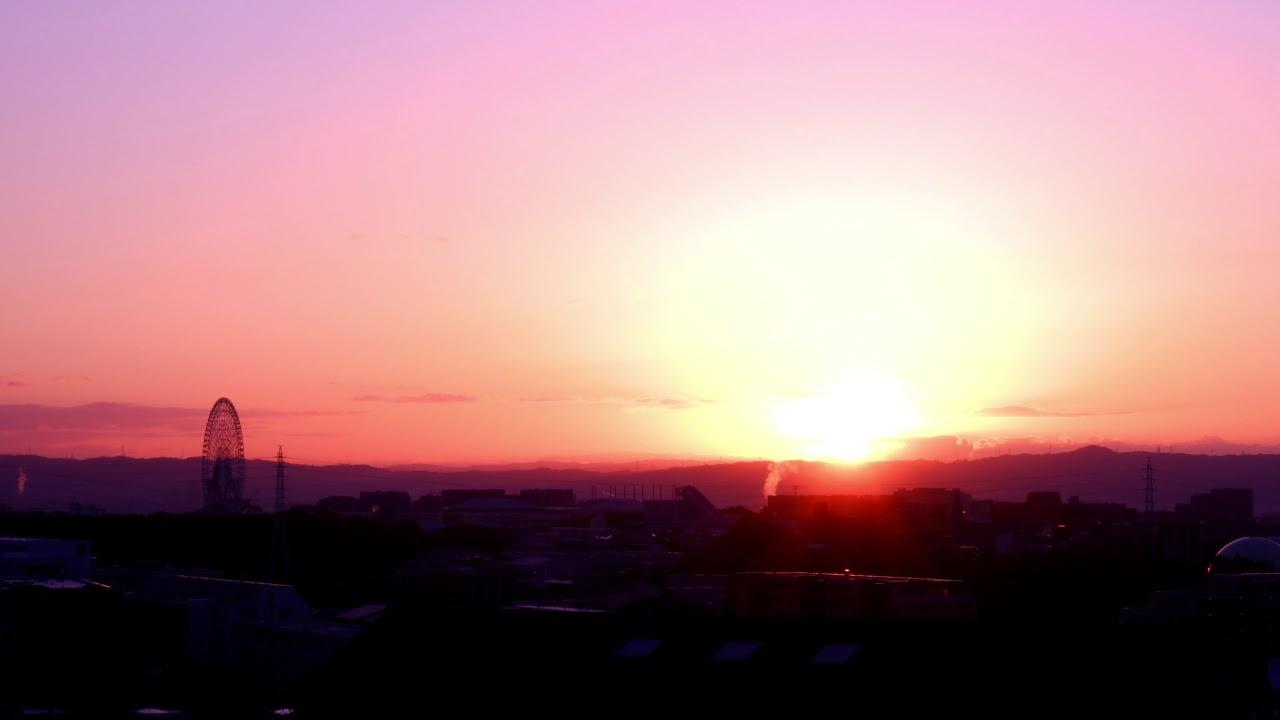 タイムラプス素材_大阪の夜明けの風景(吹田市)