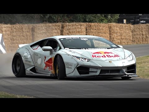Mad Mike's CRAZY 800HP Lamborghini Huracan Drift Car In Action @ Goodwood FOS! *MUST SEE*