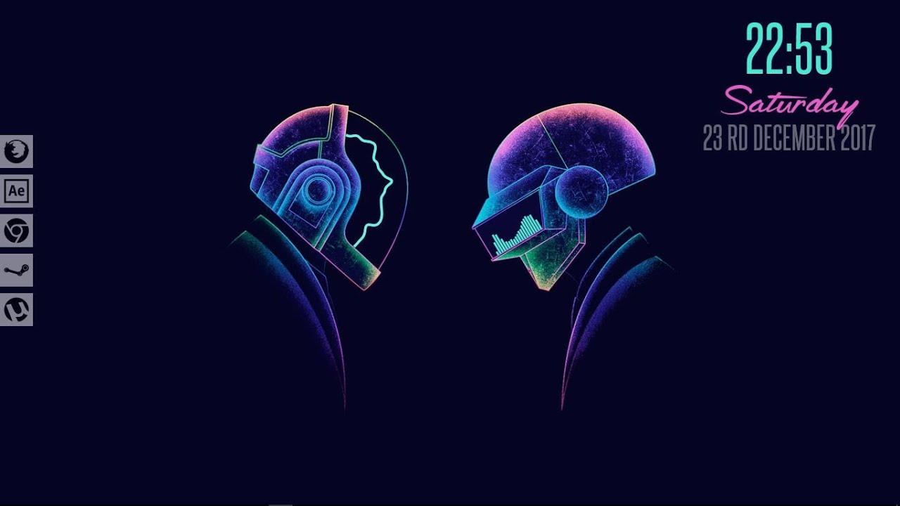 Glowing Daft Punk Rainmeter Skin 2019