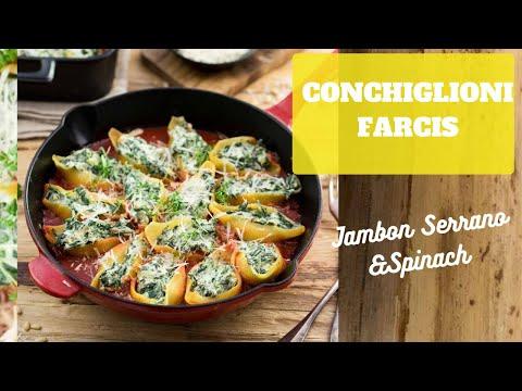 conchigioni-:-pÂtes-farcies-jambon-serrano,-gorgonzola-et-épinards