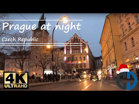 PRAGUE at night | 4K video | Virtual driving in car POV