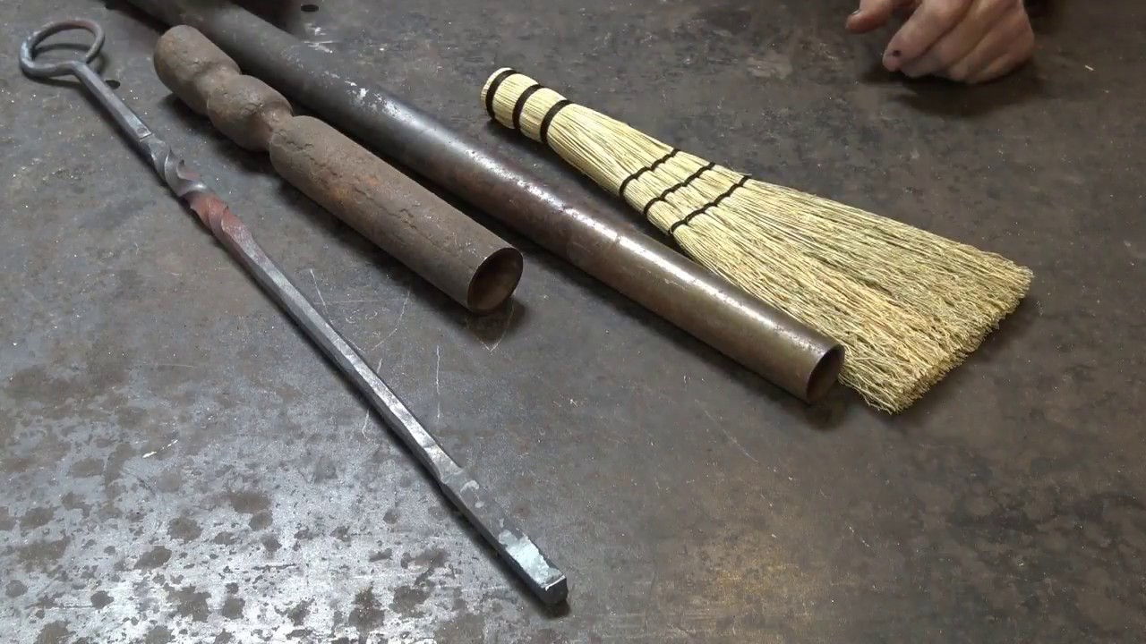 Fireplace Broom With Forged Handle And Hand Tied Broom