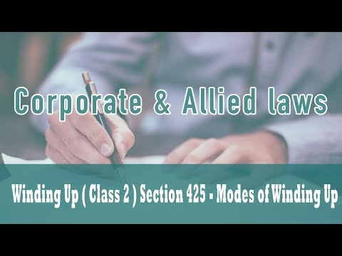 Winding Up ( Class 2 ) | Part VII of Companies Act 1956 | Section 425 - Modes of Winding Up