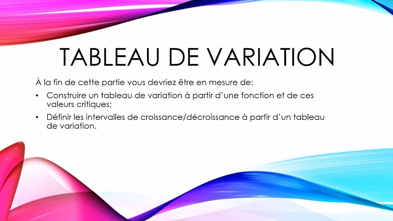 TABLEAU DE VARIATION - YouTube