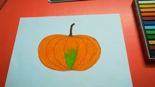 HOW TO DRAW A PUMPKIN FOR KIDS EASY l DRAWING PUMPKIN STEP BY STEP