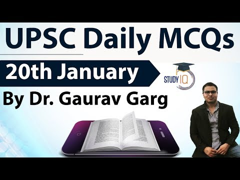 UPSC Daily MCQs on Current Affairs - 20th January 2018 -  for UPSC CSE/ IAS Preparation Prelims