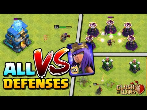 MAX QUEEN vs ALL DEFENSES - Level 60 Archer Queen in Clash of Clans! Town Hall 12 Attack Strategy!