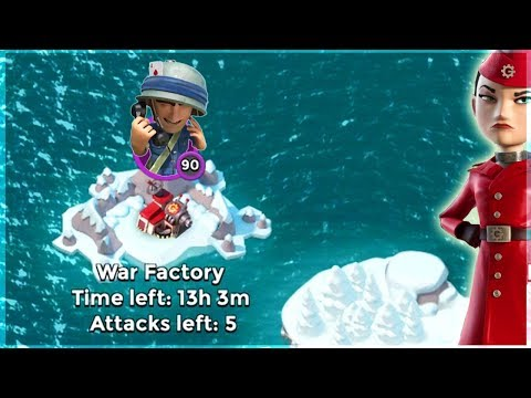 Boom Beach HUGE Riflemen Swarm vs War Factory!!