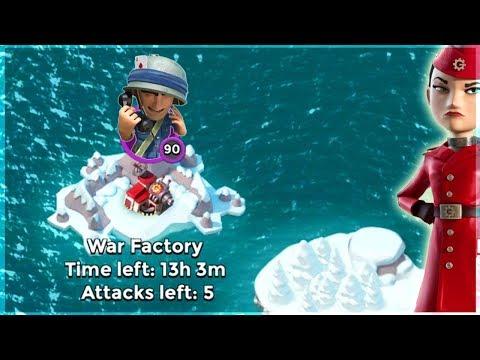 Boom Beach HUGE Riflemen Swarm vs War Factory!!