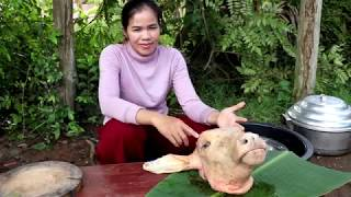 Amazing Cooking Cow Head Soup Recipe   - Eating Cow Head Soup Delicious  - Village Food Factory