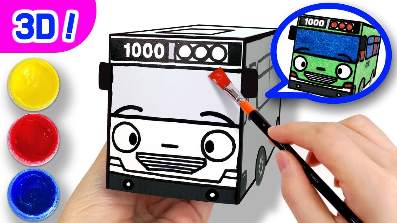 Download 3D Coloring Rogi the Detective l Coloring Tutorial l Tayo Paper Craft l Tayo the Little Bus
