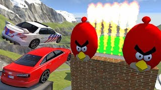 Crazy Vehicle High Speed Jump Through FIRE In Green Slime Pool - BeamNG.drive Jumps Angry Birds
