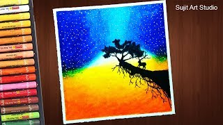 How to draw Sunset ft Moonlight Scenery with Oil Pastels step by step