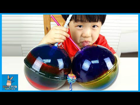 DIY How To Make a 'Giant Jello Jelly Rainbow Candy' Superman Hulk Surprise Toys | MariAndFriends