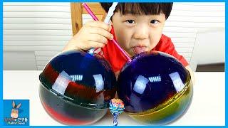 얼굴 크기 무지개 사탕? 초거대 사탕 젤리 만들기 ♡ 스파이더맨 헐크 서프라이즈 장난감 DIY Make Giant Jelly Candy   말이야와친구들 MariAndFriends
