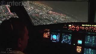 Ciudad de México de Noche - Interjet Airbus A320 Cabina de Pilotos