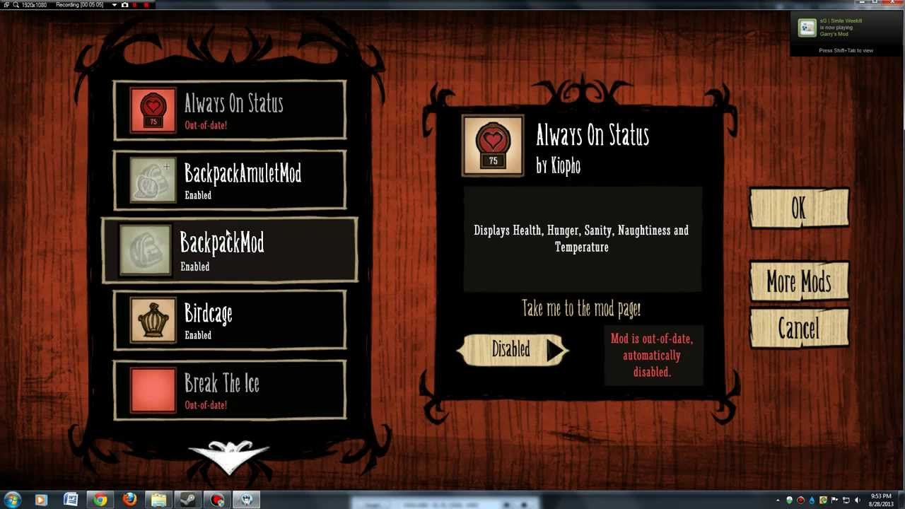 Downloading Mods from the Steam Workshop (and other sources)    Don't Starve