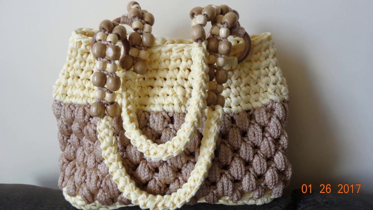 Bolsos carteras mochilas monederos a crochet en trapillo y for Bolsos de crochet de trapillo