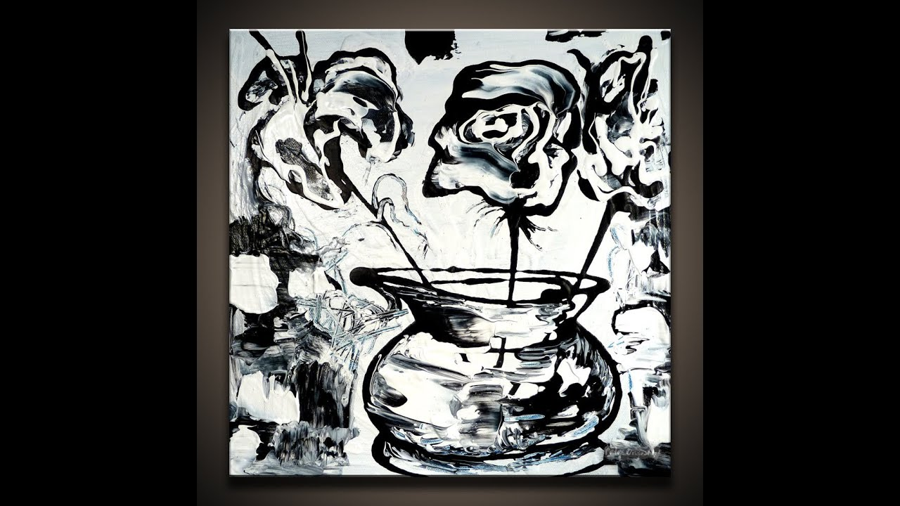 Painting Black And White Flowers On Small Canvas