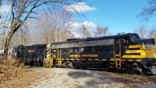 Grafton & Upton Railroad MBTA equipment move with vintage EMD locomotives.
