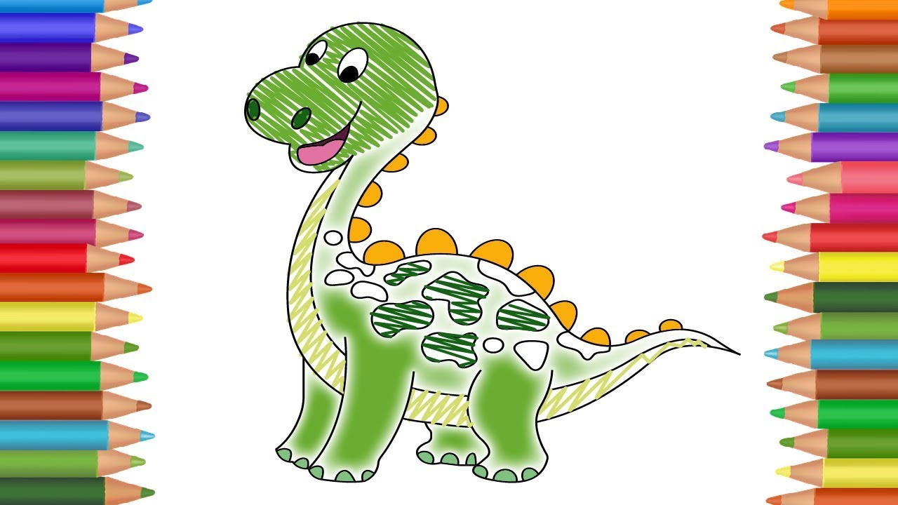 How to Draw Cute Dinosaur | Dinosaur Coloring Pages for Kids - YouTube