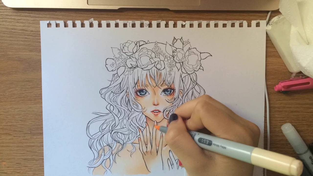 COPIC ART Flower Girl Speedpaint