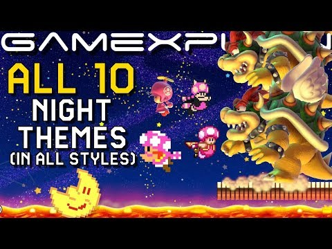 Super Mario Maker 2 - All Night Mode Themes in Every Game Style (+ How Enemies & Power-Ups React!)