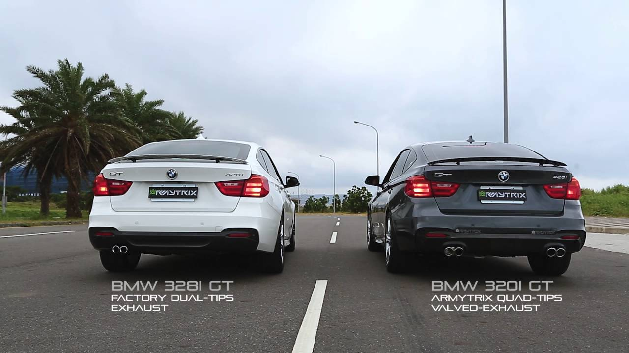 Bmw 320i Gt Armytrix Quad Tips Exhaust V S Bmw 328i Gt Factory