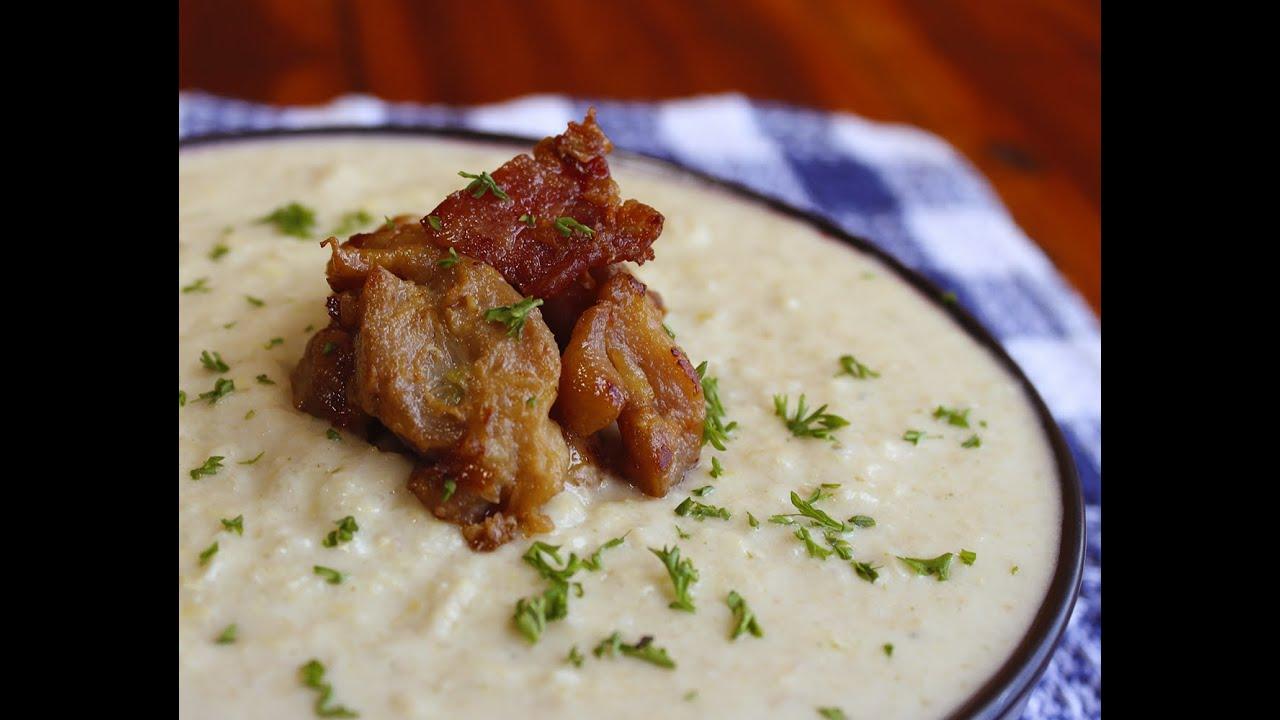 Crema de maíz con pinchos de pollo